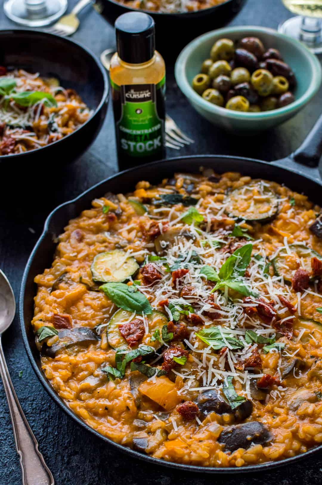 Ratatouille risotto with essential cuisine liquid stock