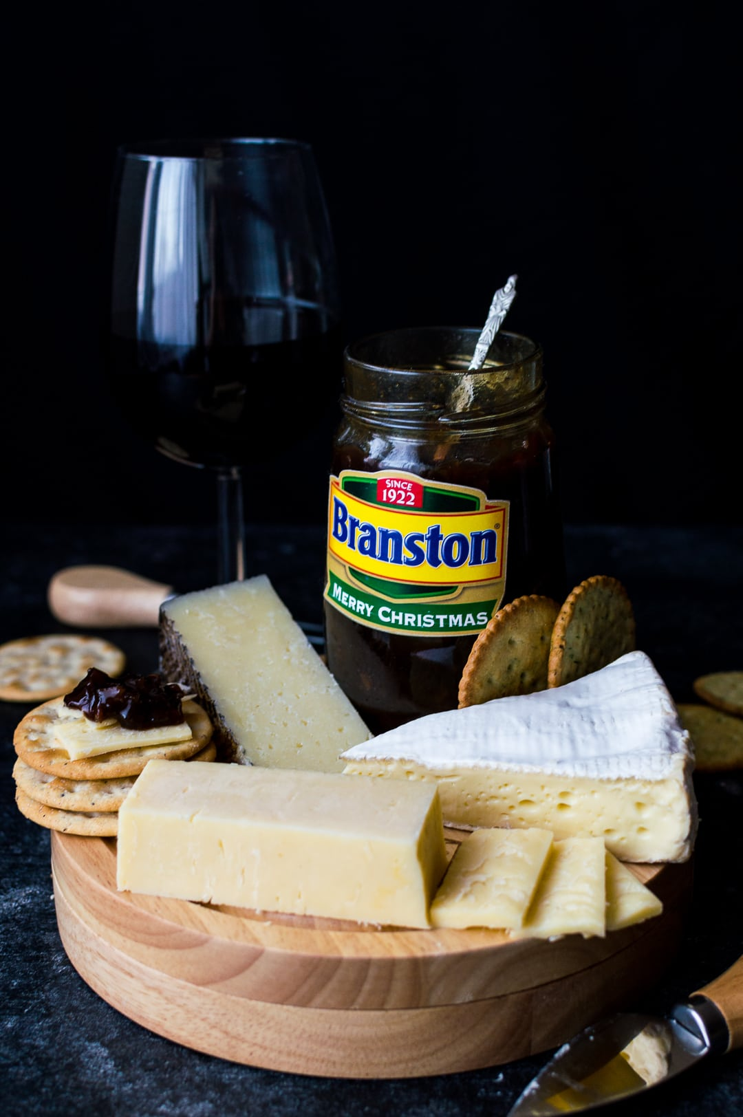 Branston pickle, cheese and wine