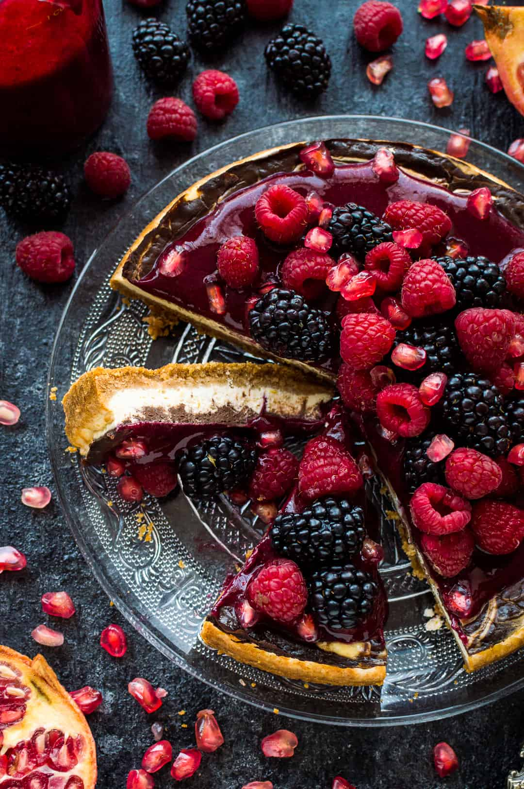 Lighter chocolate swirl cheesecake with berry coulis - have your cake and eat it too with this delicious lower-calorie cheesecake.