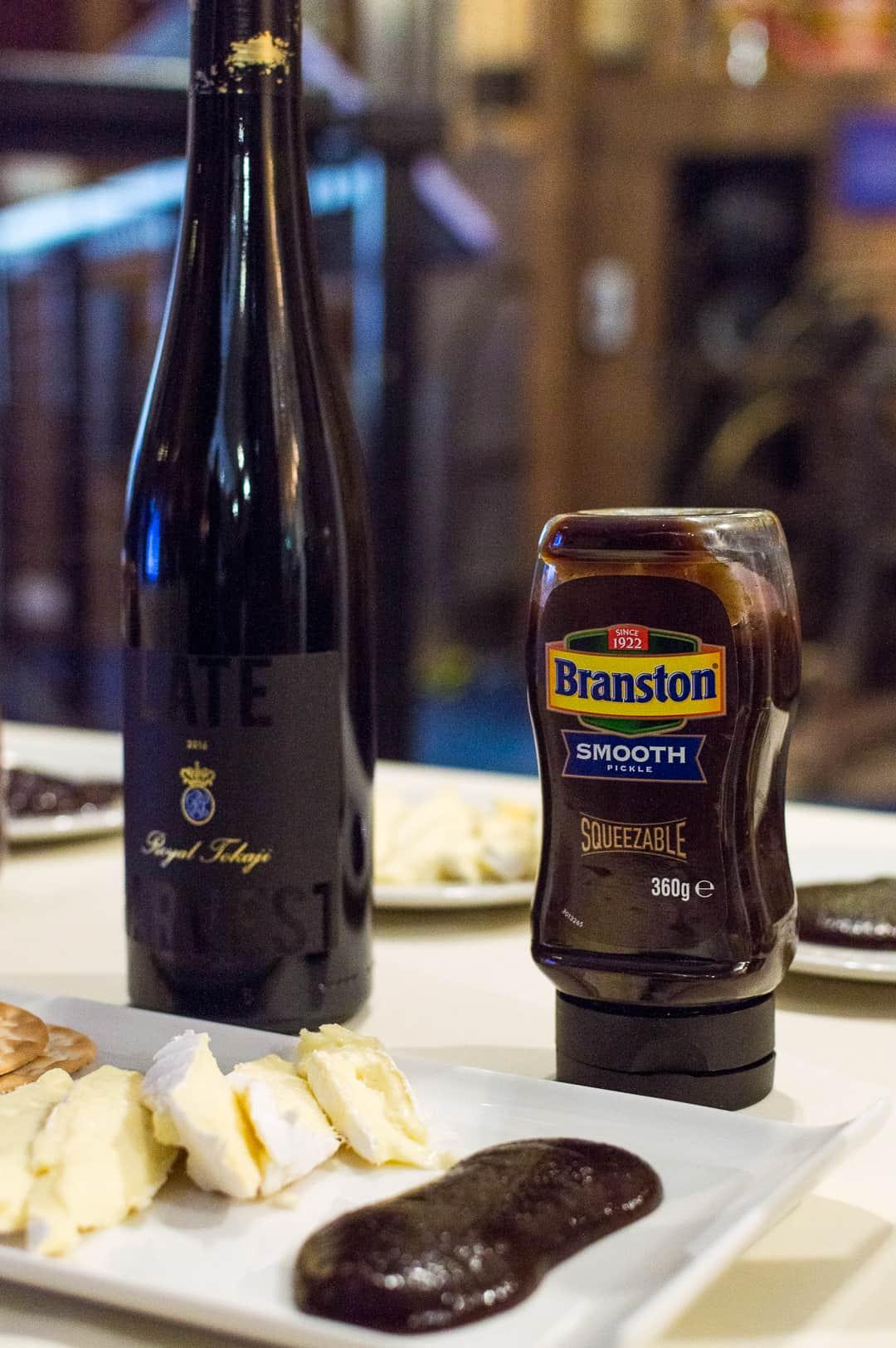 dessert wine, brie, smooth, squeezy Branston pickle