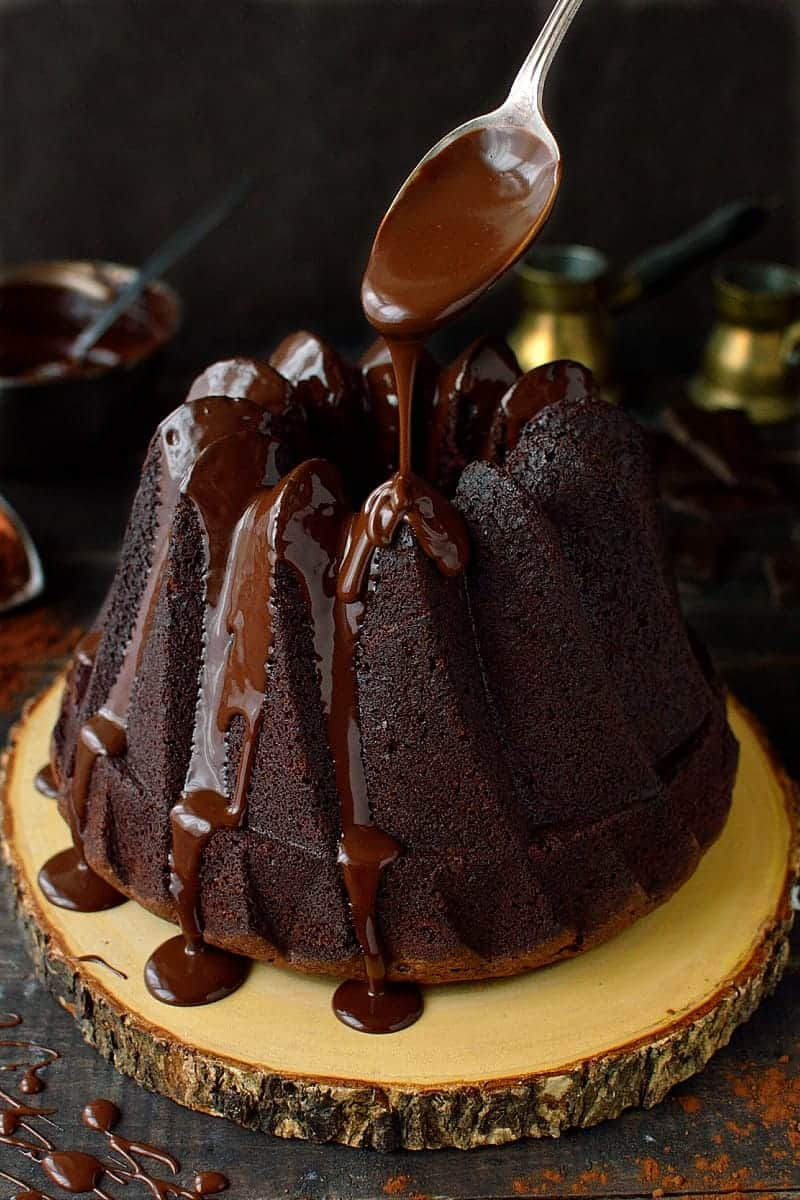 Double chocolate bundt cake - a sinfully delicious, intensely chocolatey cake with silky smooth, rich chocolate ganache.