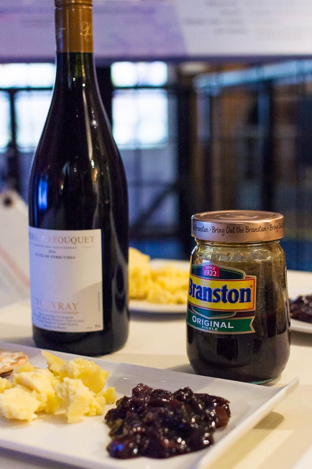 lancashire cheese, vouvray, Branston pickle original