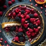 Lighter chocolate swirl cheesecake with berry coulis – have your cake and eat it too with this delicious lower calorie cheesecake recipe.