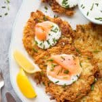 Crispy potato latkes with chive sour cream and smoked salmon; perfect for breakfast, brunch, lunch or dinner!