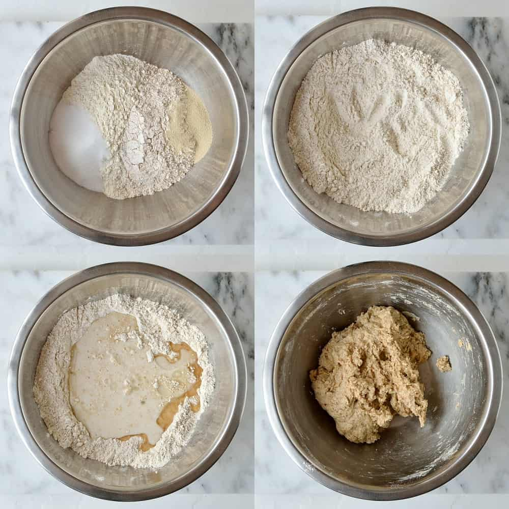 Step 1 - a four image collage of making the dough.