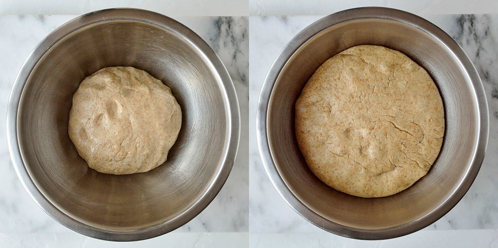 Step 2 - two image collage of letting the dough rise.