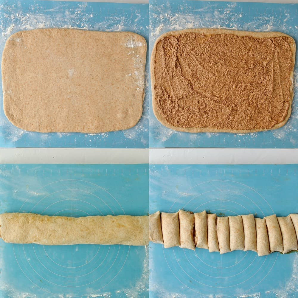 Step 4 - a four image collage of rolling out the dough, adding the filling, rolling it up and slicing it.