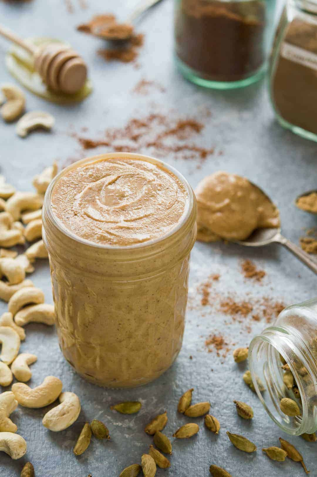 Chai spiced cashew butter - a delicious, flavourful homemade nut butter; you'll want to slather it on everything!