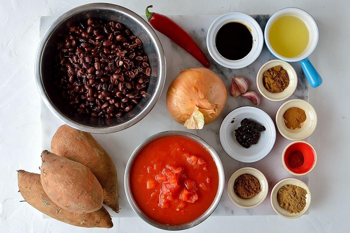 sweet potato black bean chilli ingredients