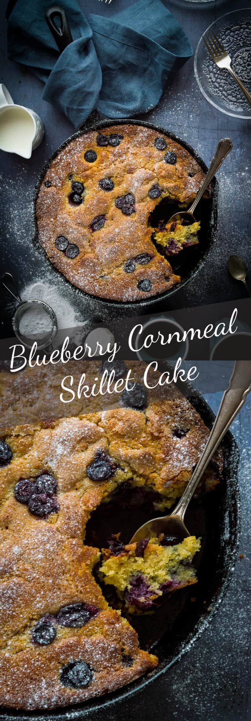 Blueberry cornmeal skillet cake - perfect as pudding, a snack or even for breakfast; this skillet cake is moist, buttery and incredibly moreish! #cake #baking #blueberries
