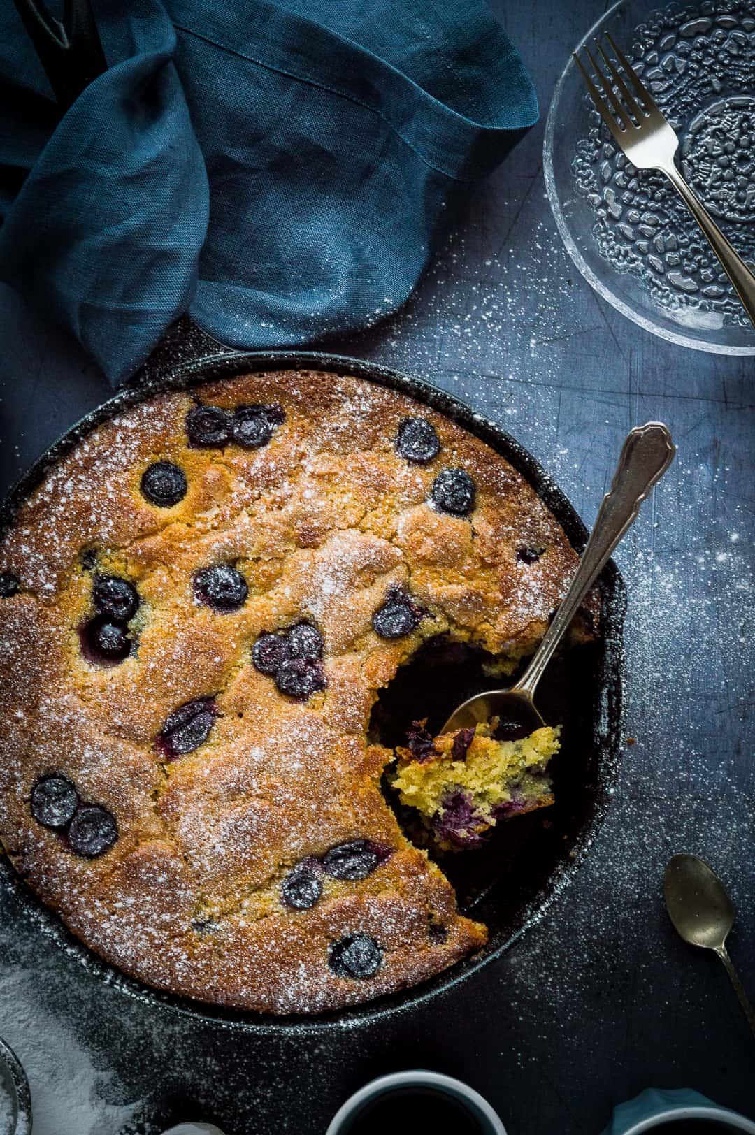 Blueberry cornmeal snack/breakfast cake