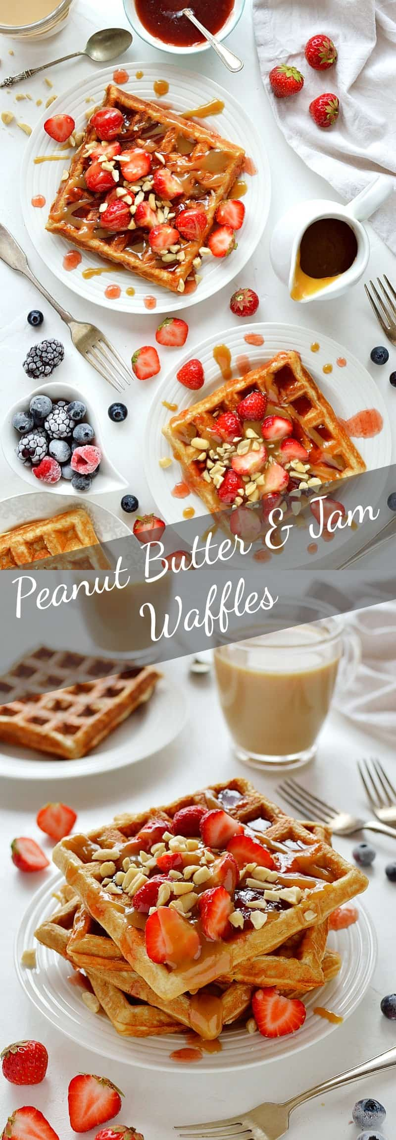 Peanut butter and jelly waffles - the classic PB&J combination in tasty waffle form! #breakfast #waffles #brunch