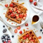 Peanut butter and jam waffles - the classic PB&J combination in tasty waffle form!