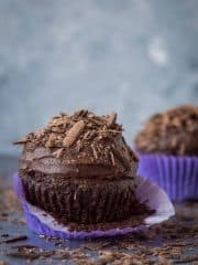 Chocolate cupcakes for two - a small batch of just two delicious vegan chocolate cupcakes that are incredibly quick and easy to whip up and so tasty! Perfect for Valentines Day.