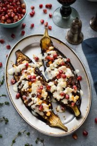 Chickpea and lentil stuffed aubergines – a tasty, healthy vegetarian meal that looks impressive but is really easy to make!
