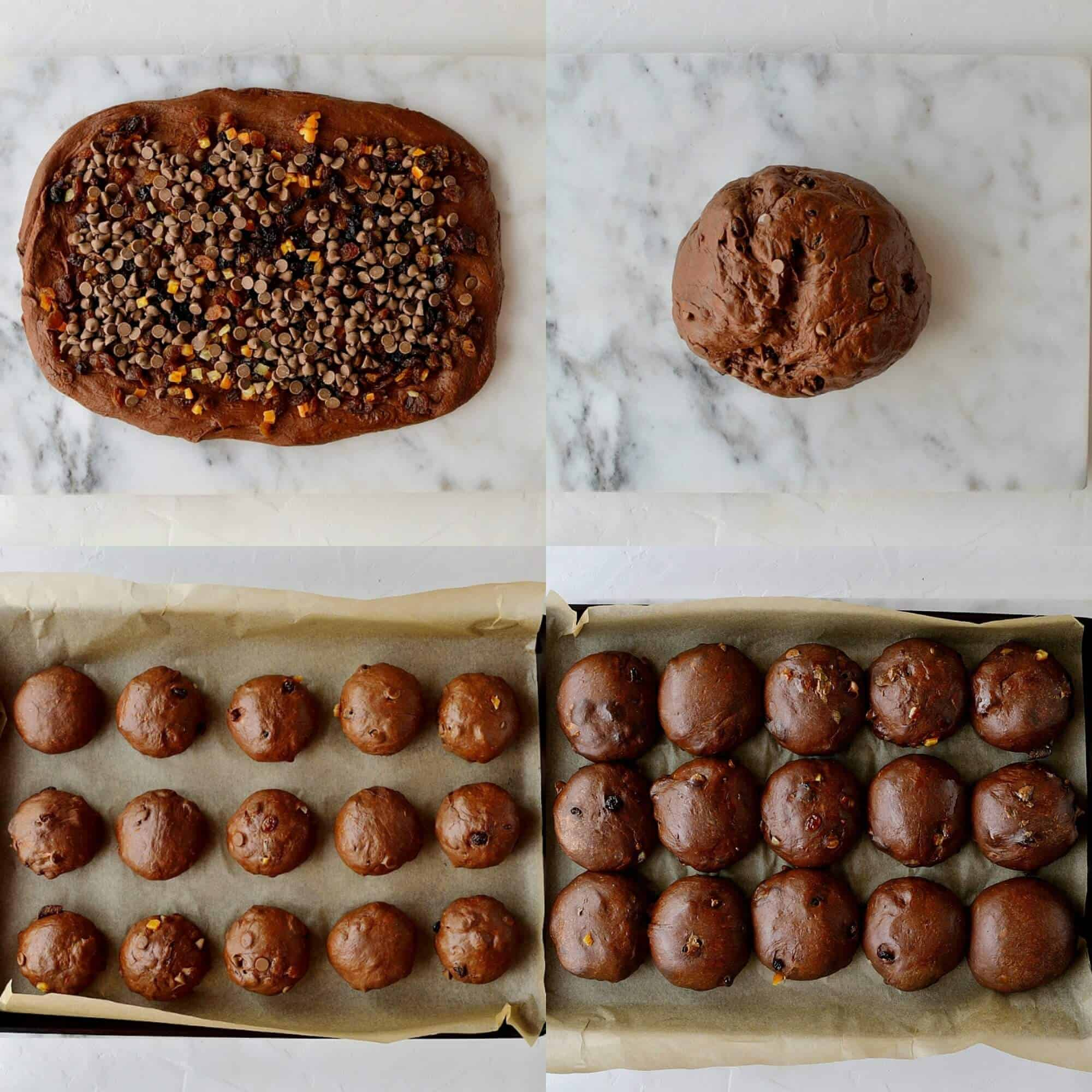 Step 4 - adding the chocolate chips, forming the buns and letting them rise