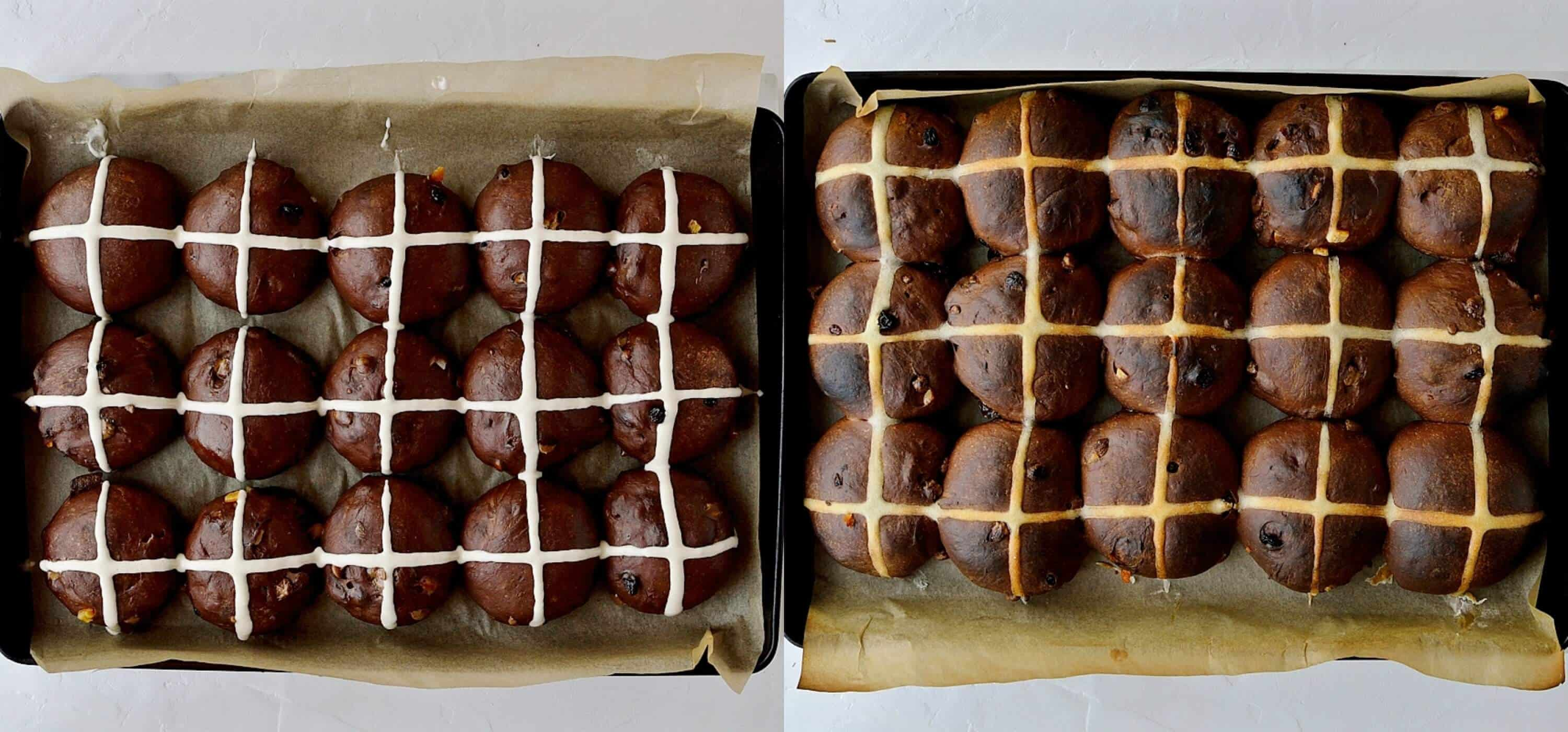 Step 6 - piping the crosses and baking the buns