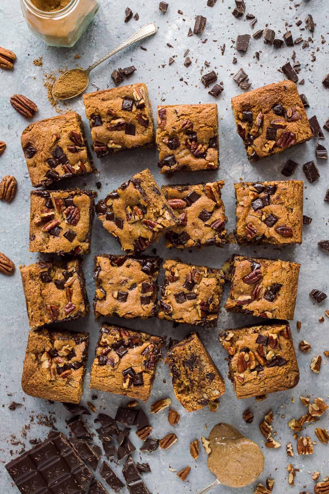 Vegan peanut butter chocolate chip pecan bars - incredibly moreish vegan peanut butter snack bars loaded with chocolate chips and pecans.