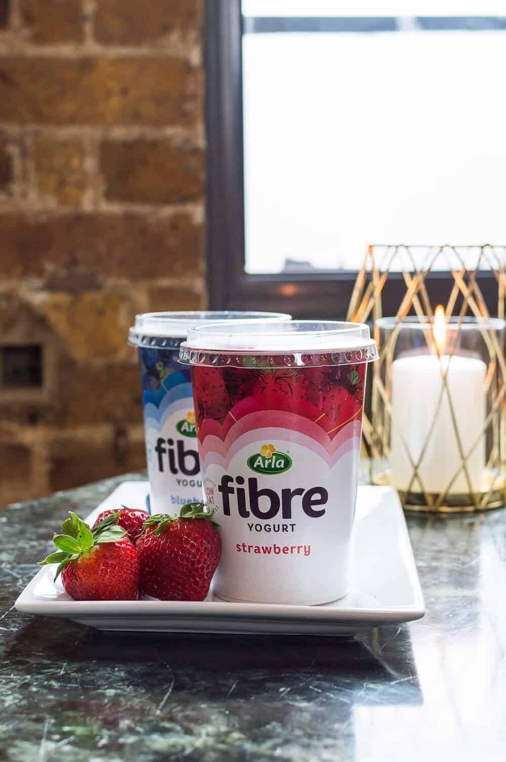 a pot of arla fibre strawberry yogurt