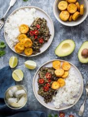 Spiced black beans and callaloo with coconut rice and plantain - beans and greens is a super quick, simple and healthy vegan meal that tastes great and is perfect for #MeatFreeMondays! #vegan #plantbased #healthy #Jamaican