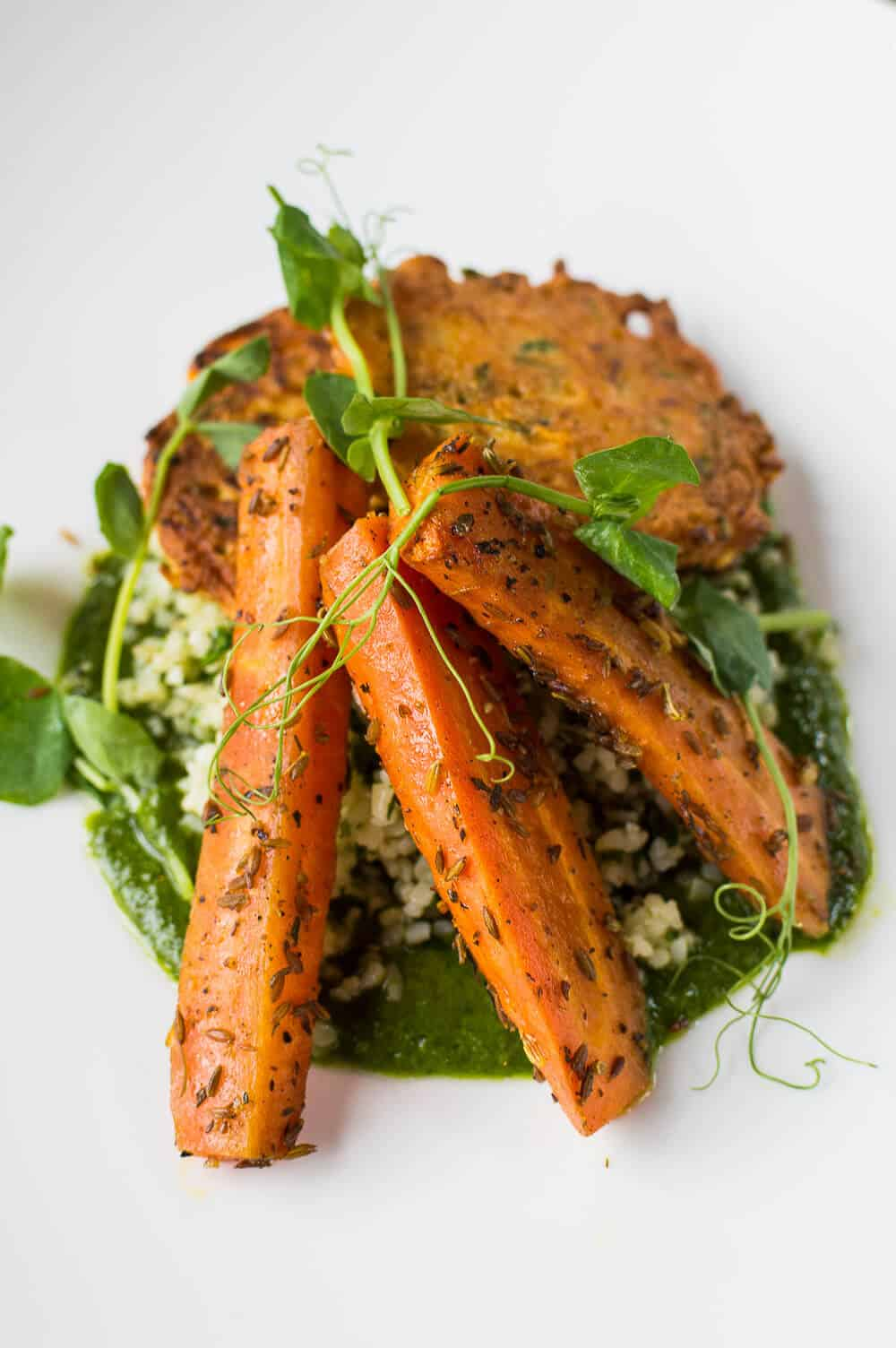 roasted carrots and carrot fritters with salsa verde