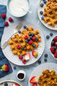 Sweet potato waffles - make your waffles healthier by adding sweet potato! These delicious waffles are light and crispy with a lightly spiced sweet flavour and the added benefits of sweet potatoes and wholemeal flour.