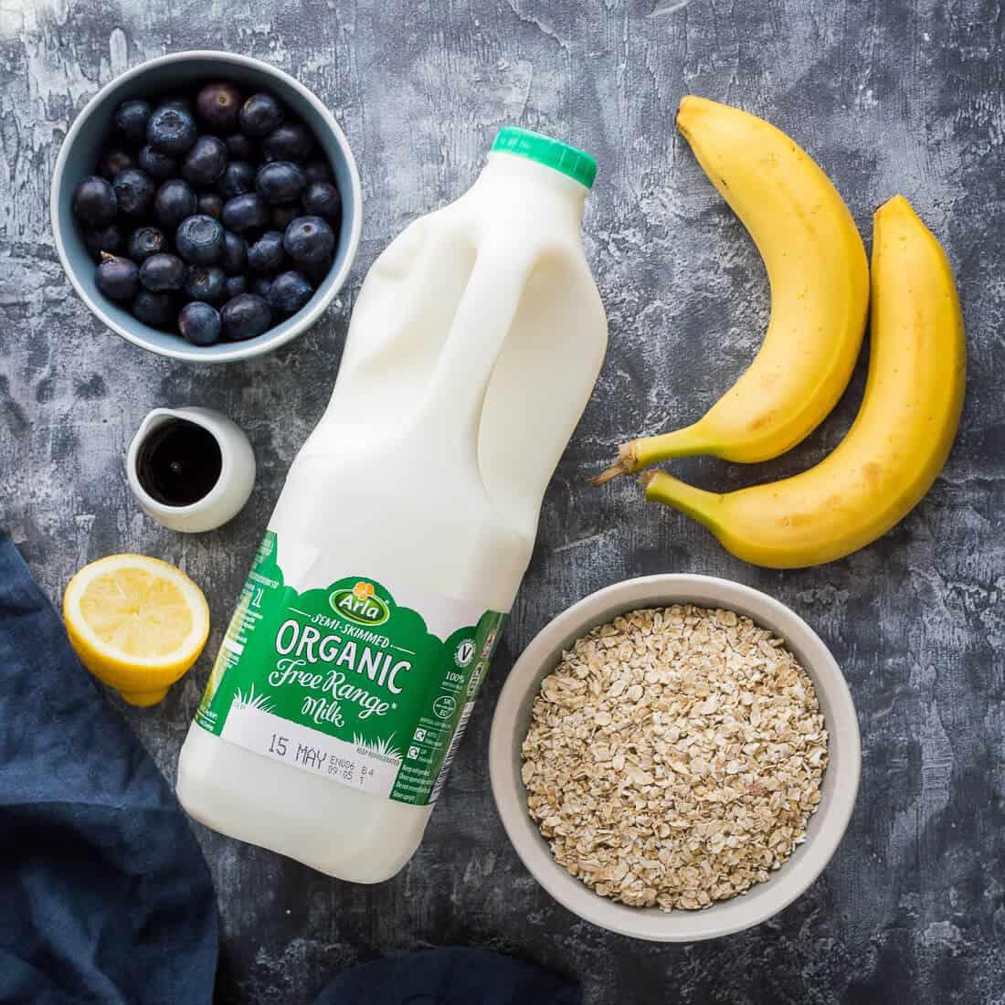 banana porridge with blueberry compote ingredients