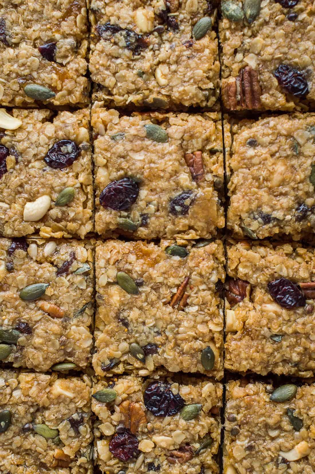 Close-up of squares of vegan fruit and nut flapjacks