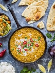 Red lentil dhal with roasted cauliflower & butternut squash – an easy, healthy, delicious vegan meal that is good all year round! #vegan #healthy #plantbased