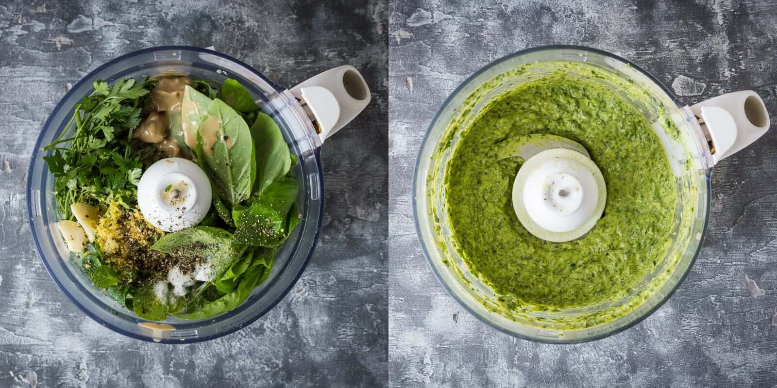 tahini herb dressing steps