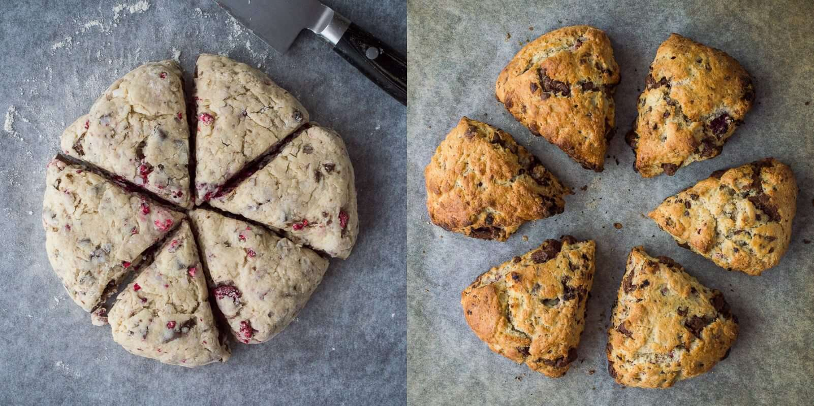 vegan chocolate raspberry scones step 3