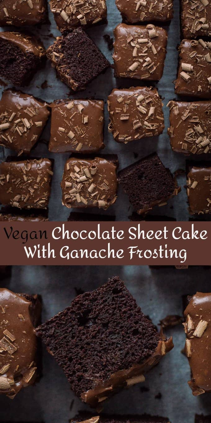 vegan chocolate sheet cake pinterest image