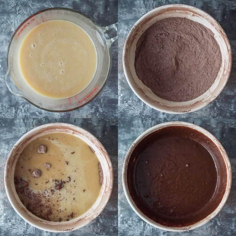 vegan chocolate sheet cake step 2