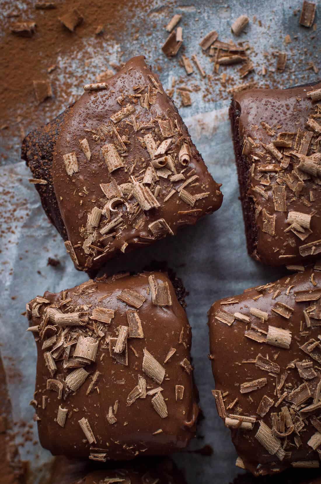Vegan chocolate traybake cake (sheet cake) with coconut milk ganache.