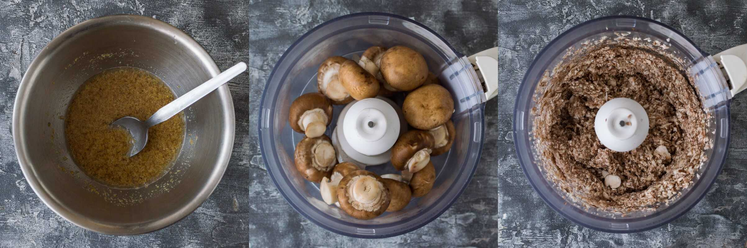 mushroom lentil burgers step 1