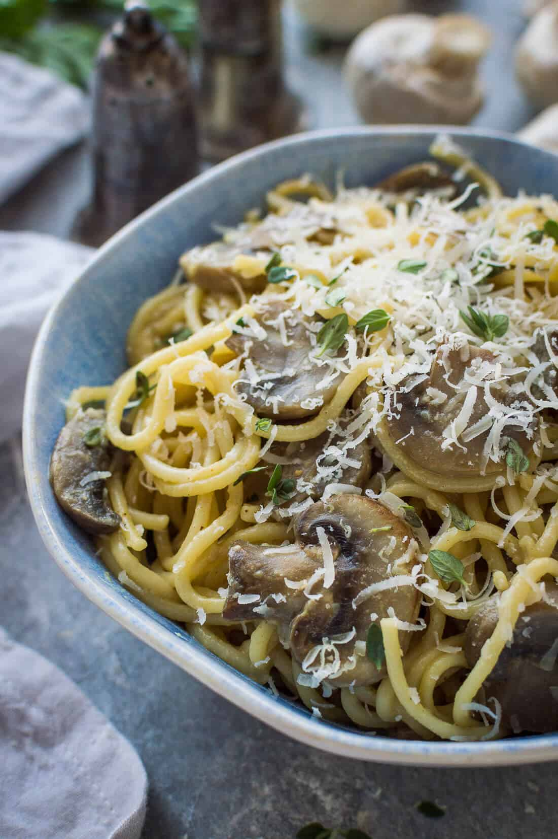 A bowl of creamy vegan one pot mushroom pasta