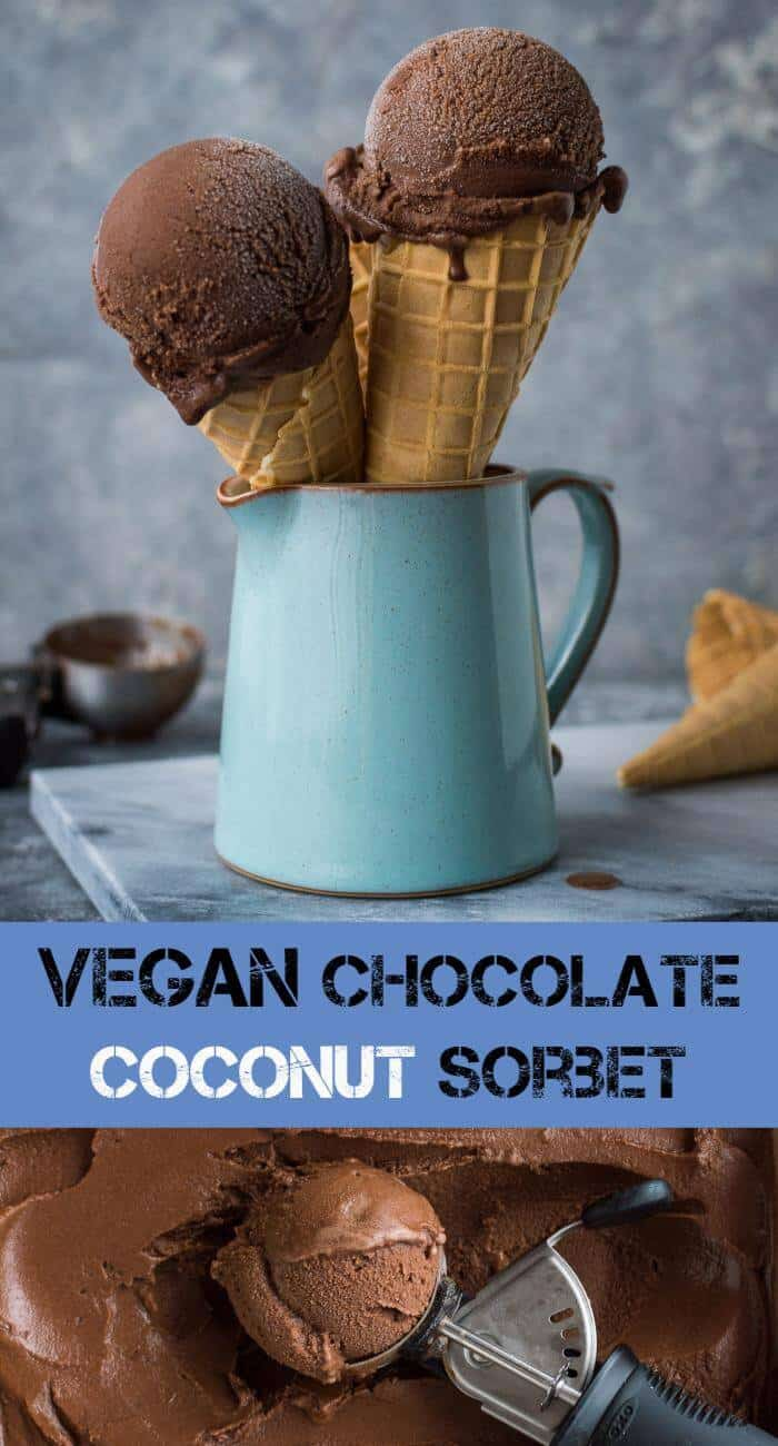 Chocolate coconut sorbet - rich and chocolatey but lighter than a traditional ice cream; this vegan chocolate coconut sorbet is an easy to make, refreshing treat. #vegan #icecream #sorbet #dessert #vegandessert #plantbased #dairyfree #eggless #eggfree #chocolate #coconut