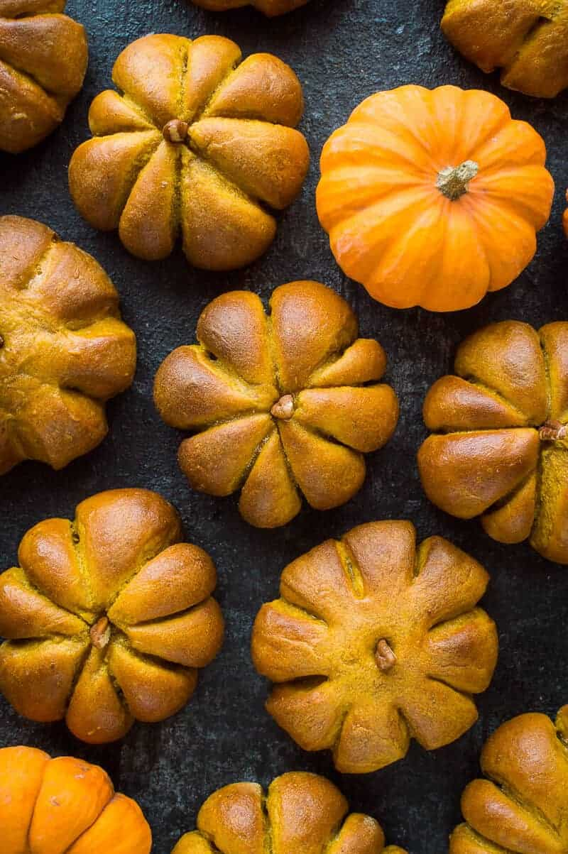 Pumpkin flavoured bread rolls shaped like pumpkins on a black background with fresh mini pumpkins.