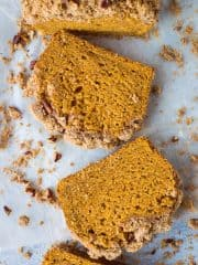 Sweet potato bread with pecan streusel - a vegan version of the classic Autumnal loaf cake with a crisp, buttery pecan crumble topping. #vegan #fallbaking #baking #sweetpotato #streusel #coffeecake