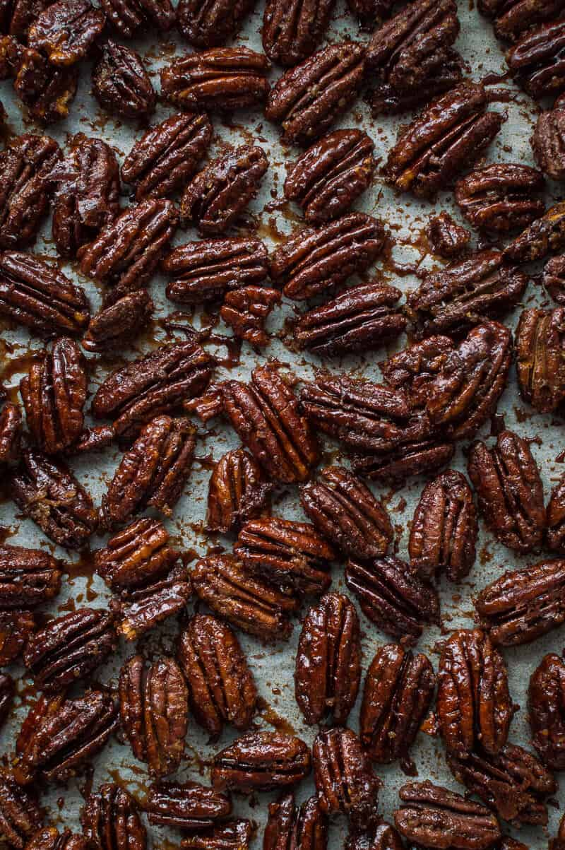 maple pecans on a baking tray