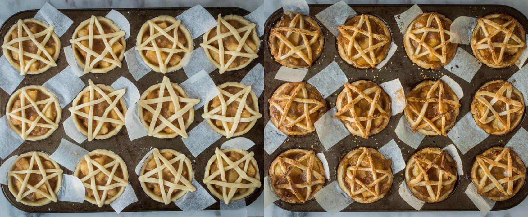 pentagram topped vegan apple pies step 5