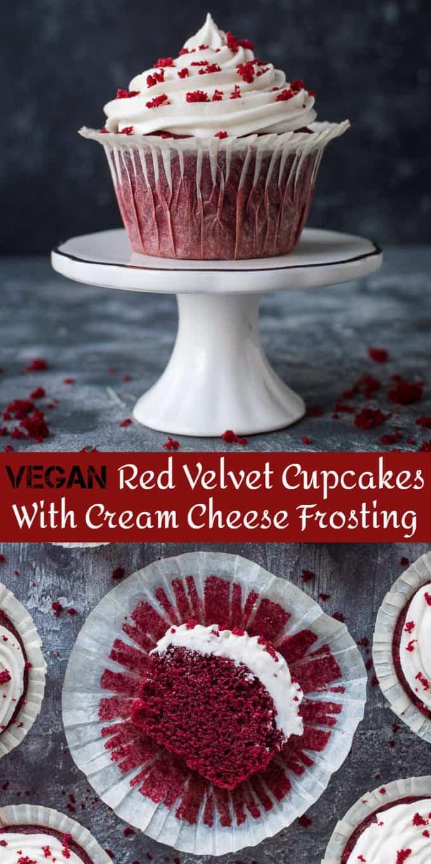 vegan red velvet cupcakes pinterest image