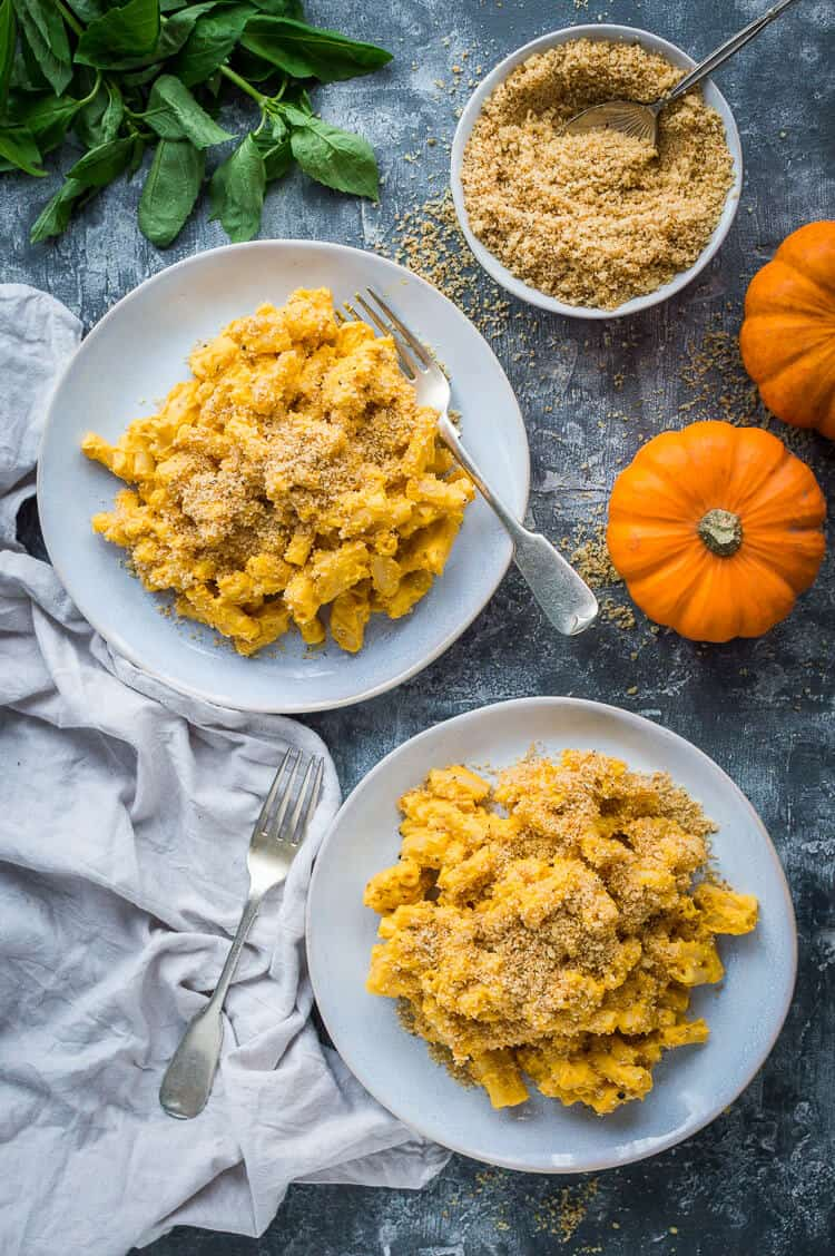 Two plates of vegan pumpkin mac and cheese on a grey background with a bowl of garlic breadcrumbs, little pumpkins and basil.