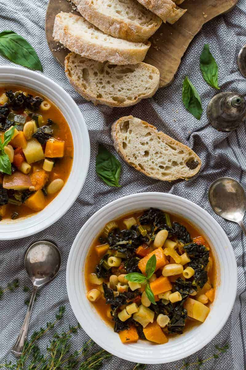 Autumn minestrone soup - a delicious vegan soup that makes the best of Autumnal produce for a hearty, healthy and filling meal. #vegan #healthy #soup