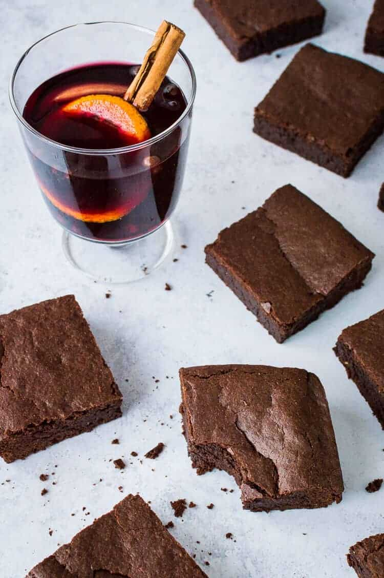 Mulled wine brownies - crispy on the outside, fudgy on the inside and filled with the flavours of festive mulled wine, these vegan brownies are sure to be a hit at Christmas! #vegan #brownies #christmas