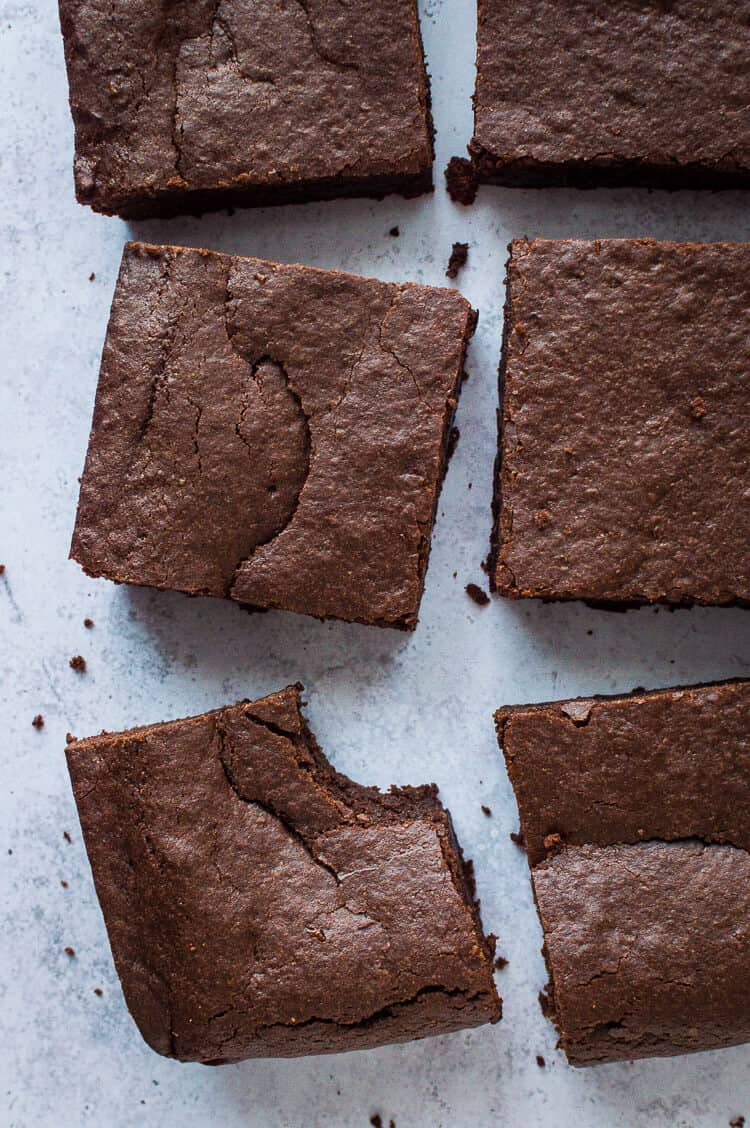 Vegan mulled wine brownies from above with a bite taken out.