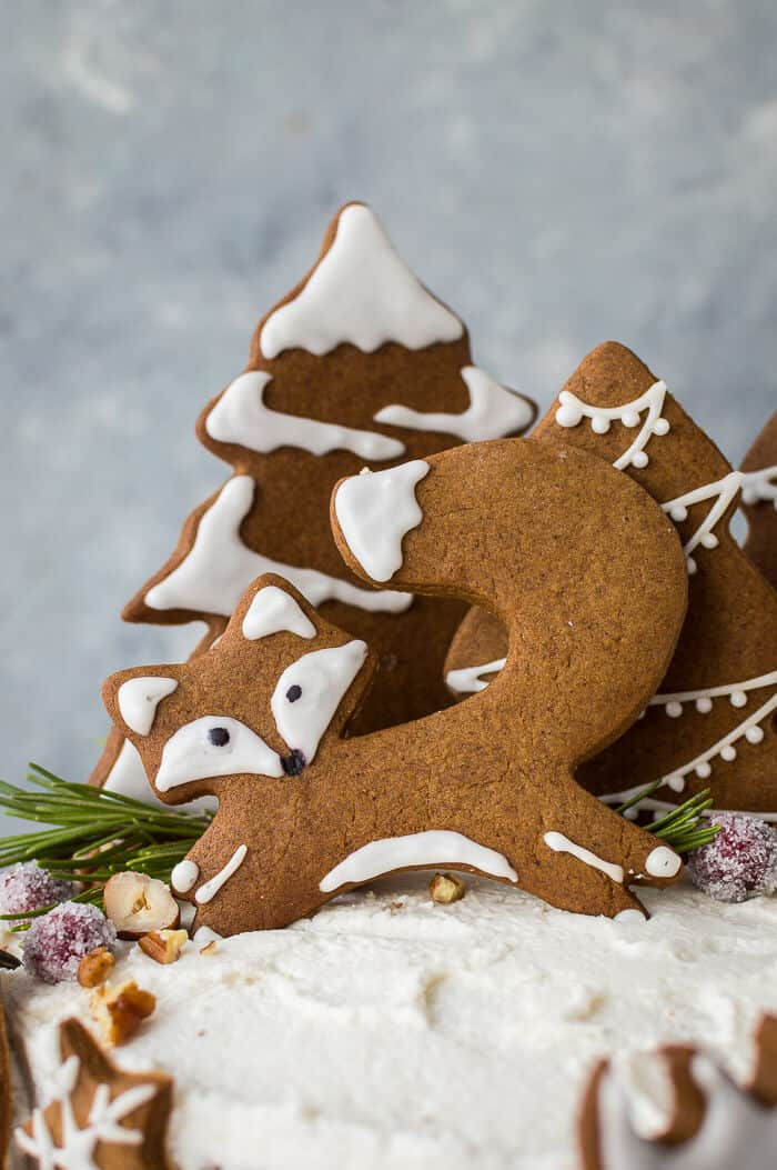 close up of vegan gingerbread fox cookie