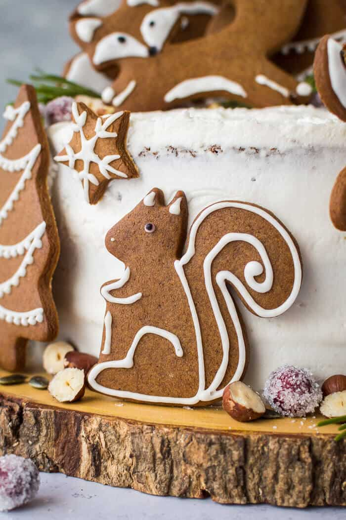 close up of vegan gingerbread squirrel cookie