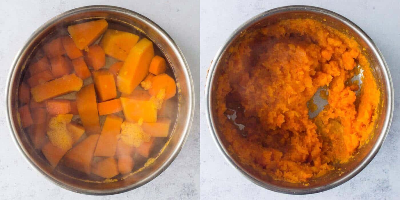 vegan nut roast step 2 - making butternut squash mash