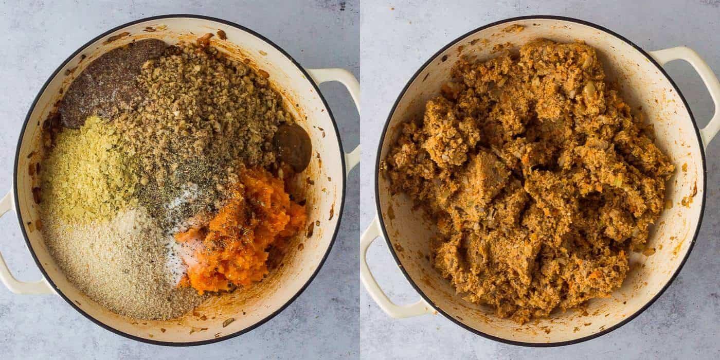 vegan nut roast step 5 - mixing the nut roast